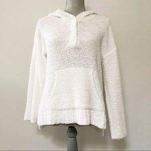 Lou & Grey fuzzy knit hooded sweater bright white